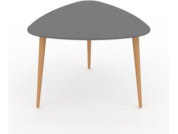 Table basse - Gris, triangulaire, design scandinave, petite table pour salon élégante - 59 x 44 x 61 cm, personnalisable