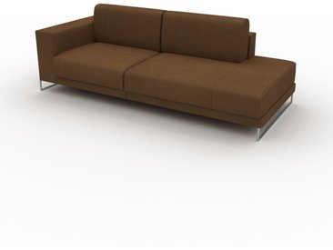 Canapé en cuir - Noix Cuir Nubuck, lounge, esprit club ou cosy avec toucher chaleureux, 224x 75 x 98 cm, modulable