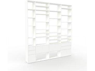 Système d'étagère - Blanc, design, rangements, avec porte Blanc et tiroir Blanc - 265 x 291 x 35 cm
