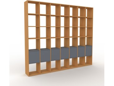 Système d'étagère - Chêne, modulable, rangements, avec porte Anthracite - 272 x 233 x 35 cm