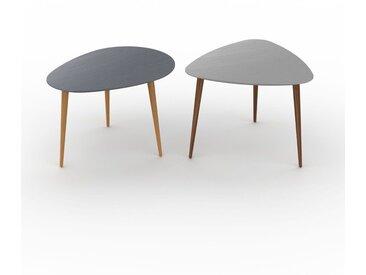 Tables basses gigognes - Gris, ovale/triangulaire, design scandinave, set de 2 tables basses - 67/59 x 44/47 x 50/61 cm, personnalisable