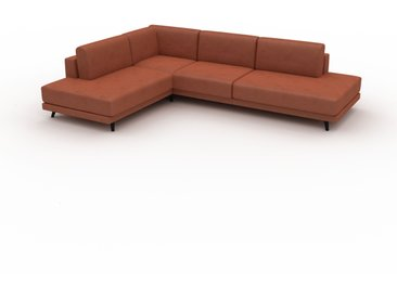 Canapé en cuir - Cognac Cuir Végan, lounge, esprit club ou cosy avec toucher chaleureux, 294x 75 x 214 cm, modulable
