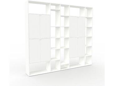 Bibliothèque murale - Blanc, modèle moderne, étagère, avec porte Blanc - 267 x 233 x 35 cm, modulable