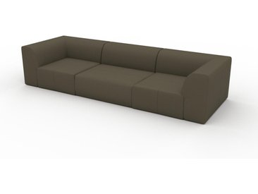 Canapé en cuir - Vert olive Cuir Nubuck, lounge, esprit club ou cosy avec toucher chaleureux - 312 x 72 x 107 cm, modulable
