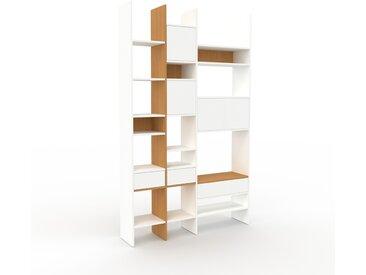 Bibliothèque - Blanc, design contemporain, avec porte Blanc et tiroir Blanc - 154 x 253 x 35 cm