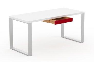 Bureau - Blanc, design industriel, table de travail de qualité, avec pieds en métal - 160 x 75 x 70 cm, personnalisable
