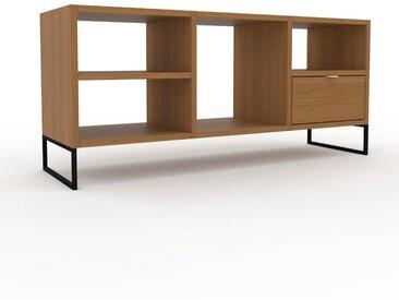 Range CD - Chêne, moderne, meuble pour vinyles, DVD, avec tiroir Chêne - 118 x 53 x 35 cm, configurable