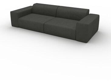 Canapé en cuir - Gris ardoise Cuir Aniline, lounge, esprit club ou cosy avec toucher chaleureux - 266 x 72 x 107 cm, modulable