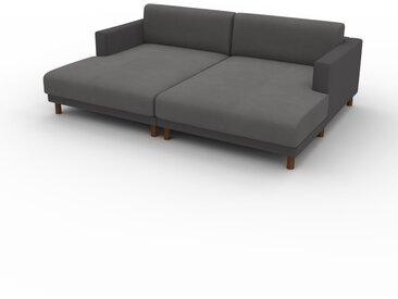 Canapé en U Velours - Anthracite, design épuré, canapé d'angle panoramique, grand et tendance, avec pieds - 224 x 75 x 162 cm, modulable