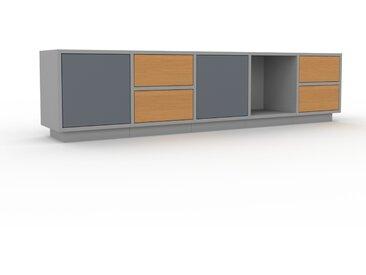 Buffet bas - Gris, design contemporain, avec porte Anthracite et tiroir Chêne - 195 x 47 x 35 cm
