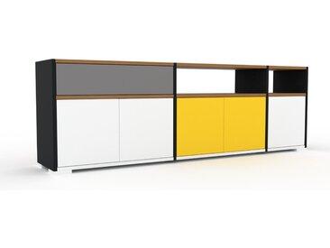 Enfilade - Blanc, design, buffet, avec porte Blanc et tiroir Gris - 190 x 62 x 35 cm