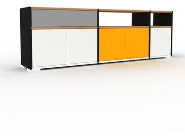 Enfilade - Noir, design, buffet, avec porte Blanc et tiroir Gris - 190 x 62 x 35 cm