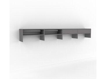 Étagère murale - Gris, design flexible, placard, avec tiroir Gris - 301 x 41 x 35 cm, configurable