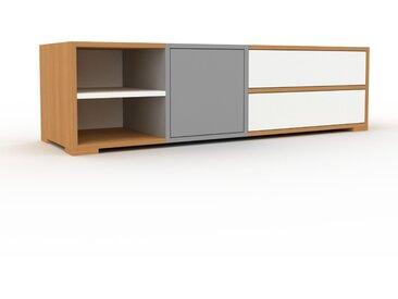 Meuble TV - Chêne, design, meuble hifi, multimedia, avec porte Gris et tiroir Blanc - 154 x 43 x 47 cm