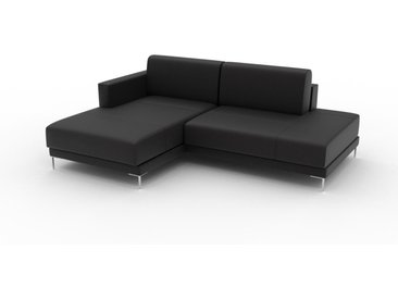 Canapé en cuir - Noir Cuir Aniline, lounge, esprit club ou cosy avec toucher chaleureux, 212x 75 x 162 cm, modulable