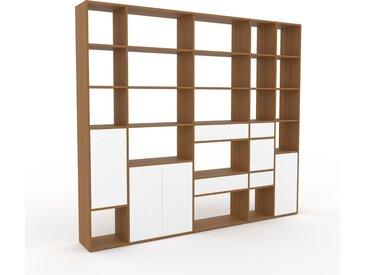 Système d'étagère - Blanc, design, rangements, avec porte Blanc et tiroir Blanc - 267 x 233 x 35 cm