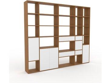 Système d'étagère - Chêne, design, rangements, avec porte Blanc et tiroir Blanc - 267 x 233 x 35 cm