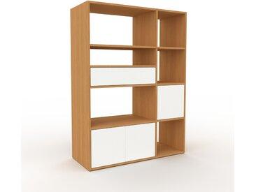 Système d'étagère - Chêne, design, rangements, avec porte Blanc et tiroir Blanc - 116 x 157 x 47 cm