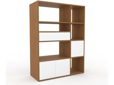 Système d'étagère - Blanc, design, rangements, avec porte Blanc et tiroir Blanc - 116 x 157 x 47 cm