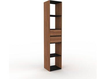 Bibliothèque - Noyer, modèle tendance, rangements pour livres, avec tiroir Noyer - 41 x 195 x 35 cm, modulable