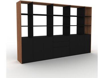 Bibliothèque murale - Noir, combinable, étagère, avec porte Noir et tiroir Noir - 303 x 195 x 47 cm