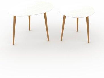 Tables basses gigognes - Blanc, ovale/ronde, design scandinave, set de 2 tables basses - 67/50 x 47/44 x 50/50 cm, personnalisable