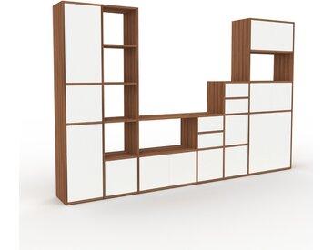 Bibliothèque murale - Noyer, combinable, étagère, avec porte Blanc et tiroir Blanc - 306 x 195 x 35 cm