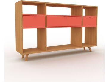 Range CD - Chêne, moderne, meuble pour vinyles, DVD, avec tiroir Rouge - 154 x 91 x 35 cm, configurable