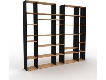 Bibliothèque - Noir, design, étagère pour livres, sophistiquée, ouverte et fonctionelle - 267 x 233 x 35 cm, personnalisable