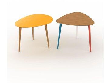 Tables basses gigognes - Chêne, ovale/triangulaire, design scandinave, set de 2 tables basses - 67/59 x 47/50 x 50/61 cm, personnalisable