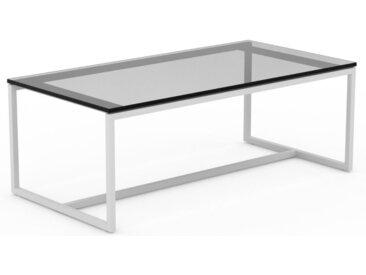 Table basse en Verre fumé transparent, design industriel, bout de canapé raffiné - 81 x 31 x 42 cm, personnalisable