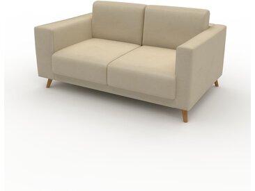 Canapé en cuir - Beige taupe Cuir Végan, lounge, esprit club ou cosy avec toucher chaleureux, 156x 75 x 98 cm, modulable