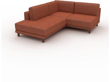 Canapé en cuir - Cognac Cuir Végan, lounge, esprit club ou cosy avec toucher chaleureux, 174x 75 x 214 cm, modulable