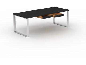 Bureau - Wengé, design industriel, table de travail de qualité, avec pieds en métal - 220 x 75 x 90 cm, personnalisable