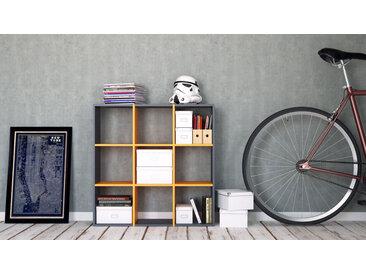 Système d'étagère - Anthracite, design contemporain, rangements de qualité, modulables - 118 x 118 x 35 cm, personnalisable