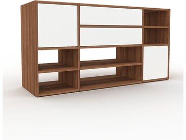 Système d'étagère - Noyer, design, rangements, avec porte Blanc et tiroir Blanc - 154 x 80 x 47 cm