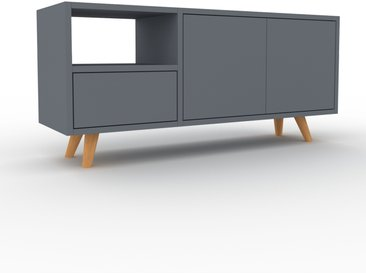 Meuble TV - Anthracite, design, meuble hifi, multimedia, avec porte Anthracite et tiroir Anthracite - 116 x 53 x 35 cm