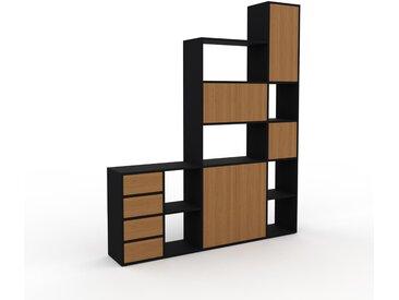 Système d'étagère - Noir, design, rangements, avec porte Chêne et tiroir Chêne - 193 x 233 x 35 cm