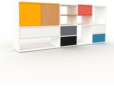 Bibliothèque - Blanc, design contemporain, avec porte Jaune et tiroir Blanc - 193 x 80 x 35 cm