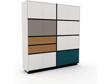 Meuble de rangements - Blanc, design, pour documents, avec porte Blanc et tiroir Chêne - 152 x 162 x 35 cm