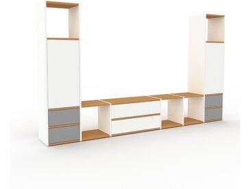 Meuble TV - Blanc, design, meuble hifi, multimedia, avec porte Blanc et tiroir Gris - 270 x 157 x 35 cm