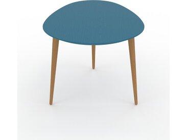 Table basse - Bleu, ovale, design scandinave, petite table pour salon élégante - 67 x 44 x 50 cm, personnalisable
