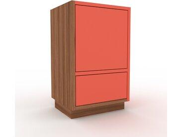Table de chevet - Noyer, moderne, table de nuit, avec porte Rouges et tiroir Rouge - 41 x 66 x 35 cm