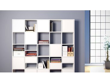 Système d'étagère - Blanc, design, rangements, avec porte Blanc et tiroir Blanc - 195 x 195 x 35 cm