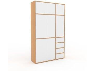 Placard - Hêtre, moderne, rangements, avec porte Blanc et tiroir Blanc - 116 x 195 x 35 cm