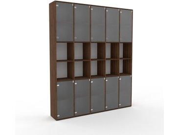 Meuble de rangements - Verre clair dépoli, moderne, pour documents, avec porte Verre clair dépoli - 195 x 234 x 35 cm, personnalisable