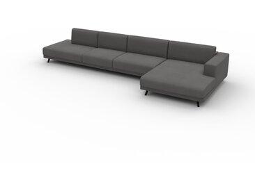 Canapé d'angle Velours - Grège, design épuré, canapé en L ou angle, élégant avec méridienne ou coin - 424 x 75 x 162 cm, modulable