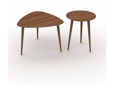 Tables basses gigognes - Noyer, triangulaire/ronde, design scandinave, set de 2 tables basses - 59/40 x 44/50 x 61/40 cm, personnalisable