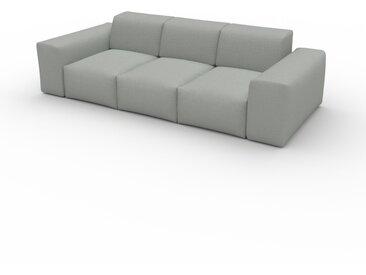Canapé - Gris Clair, forme arrondie, canapé bas et profond pour salon, en tissu sans pieds - 246 x 72 x 107 cm, modulable