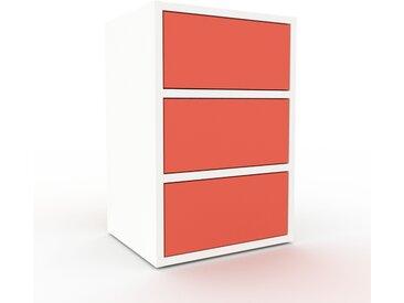 Caisson à roulette - Blanc, pièce modulable, rangement mobile, avec tiroir Rouge - 41 x 61 x 35 cm